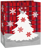 Rustic Plaid Christmas Medium Gift Bag